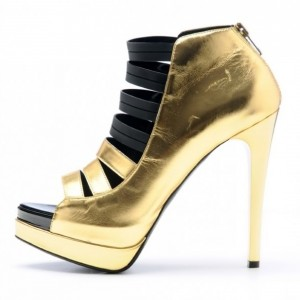 Gold and Black Stiletto Heels Platform Strappy Sandals with Zip