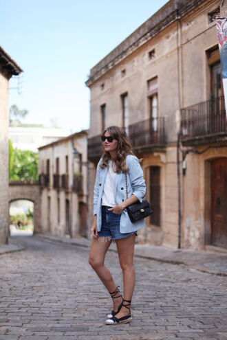 my daily style blogger jacket ripped shorts shoulder bag flat sandals