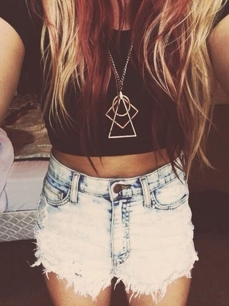shorts faded long necklace triangle pastel hipster fashion sunglasses summer dip dye shorts black crop top jewels