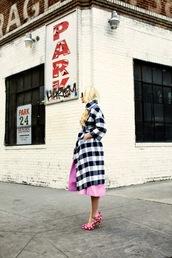 atlantic pacific,blogger,gingham,pink skirt,coat,Pin up,pink heels,retro