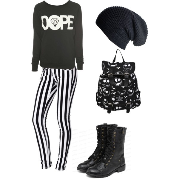 sweater dope black and white jeans beanie combat boots bag shoes hat black white