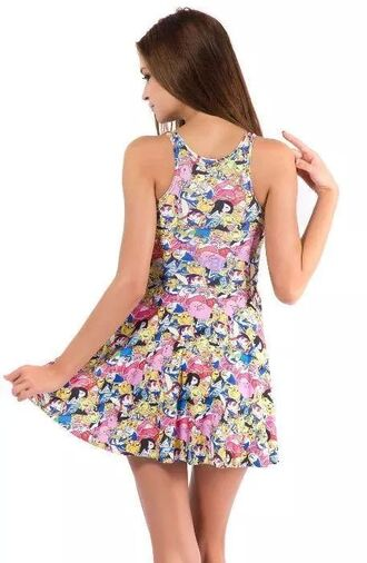 dress colorful dress adventure time adventure time dress cute dress cute tv show cartoon