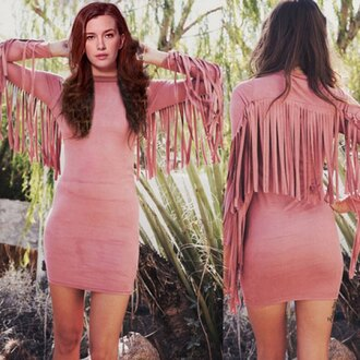dress pink fringes fall dress fall outfits trendy rose wholesale casual casual dress boho dress lookbook
