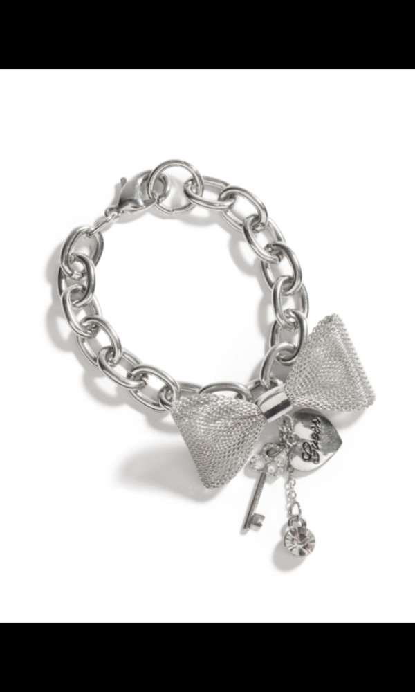 jewels bows silver chain charms