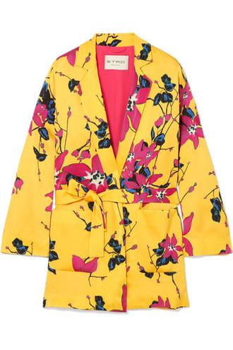 blazer floral print yellow jacket