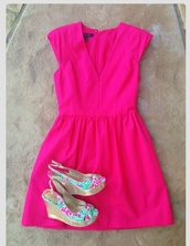 dress,hot pink,lilly pulitzer,shoes,wedges,lily pulitzer,pink,hot,floral,pretty,bright,summer,nights,date outfit,outfit,green,blue,pop,colorful,hot pink dress,pink dress,summer dress
