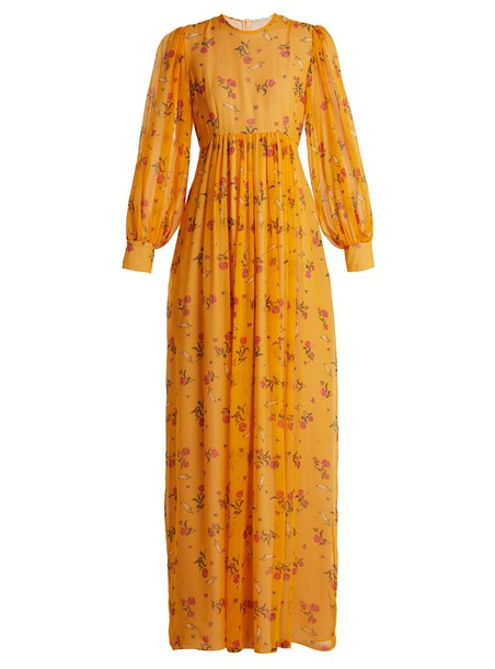 EMILIA WICKSTEAD dress chiffon dress chiffon rose print silk orange