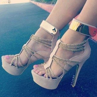 shoes heels gold gold sequins nude nude high heels nude sandals high heels cute high heels cream high heels goldchain shoe beautiful