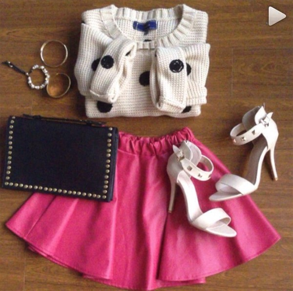 bag pink jewels shoes skirt sweater