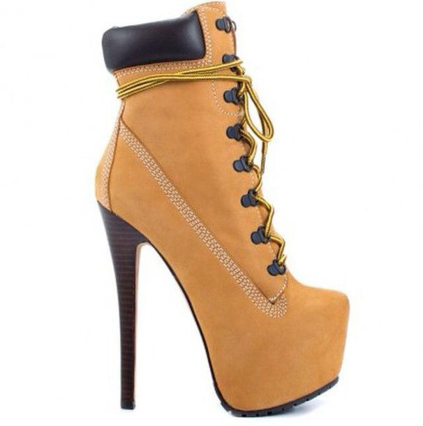 shoes timberlands heels platform lace up boots