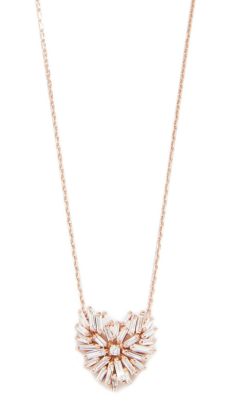 Suzanne Kalan 18K Angel Heart Necklace in gold / rose