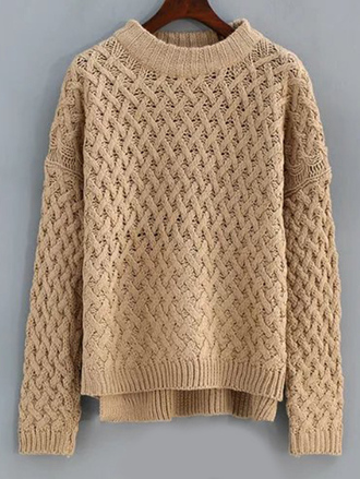 sweater nude beige fall outfits cozy fashion style winter outfits knitwear long sleeves zaful