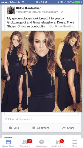 dress klhoe kardashian black long dress with slits