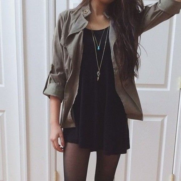little black dress dress black cute short jacket armyjacket green find want this must have