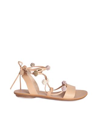 shoes pom poms sandals nude
