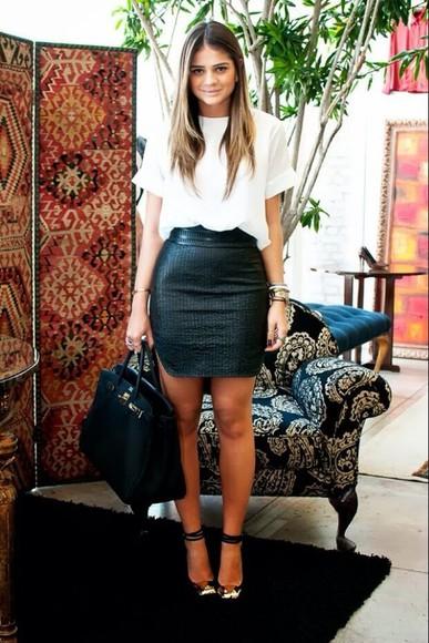 black skirt leather skirt skirt blouse shoes leather skirt white t-shirt white top leather fitted skirt