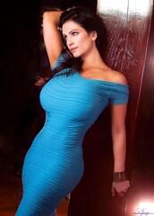 dress,denise milani,blue,turquoise,bandage,bodycon