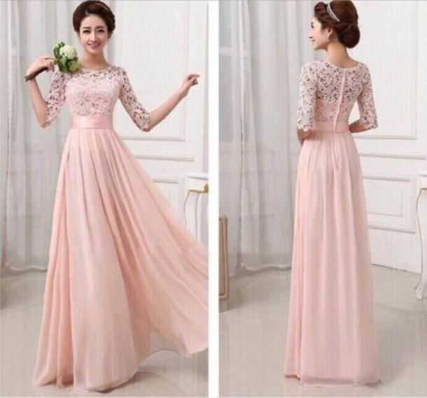 half sleeve dress, chiffon dress, evening dress, cheap dress, lace ...