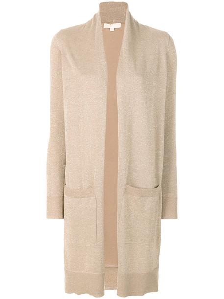 Michael Michael Kors - long open cardigan - women - Cotton/Acrylic/Polyester/Metallic Fibre - M, Nude/Neutrals, Cotton/Acrylic/Polyester/Metallic Fibre