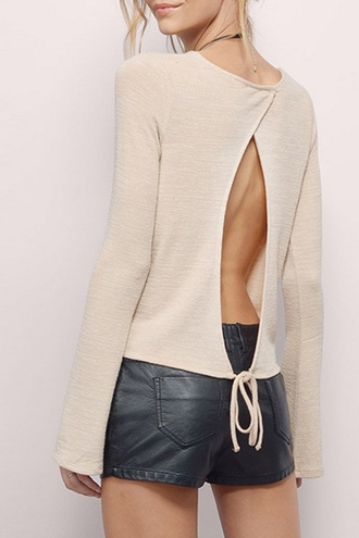 sweater fashion nude casual open back style fall outfits long sleeves