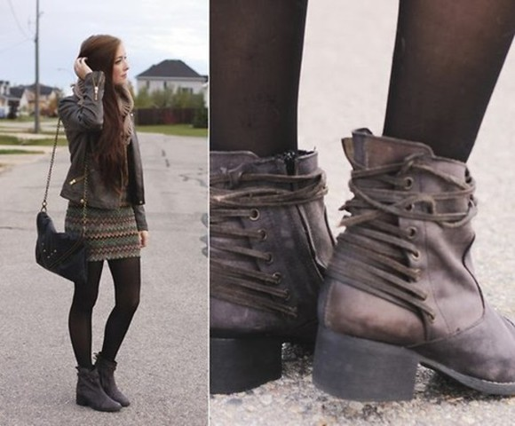 bag cuir boots lacet shoes winter Breanne S LookBook boots Steve Madden