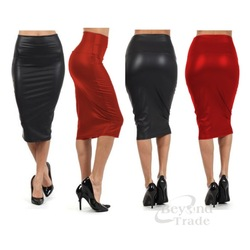 Online shop new spring autumn skirts women high waist faux leather skirt black red pu midi hip pack pencil skirt plus size saias femininas
