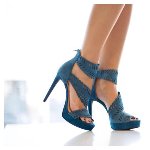 shoes suede blue heels high heel sandals blue heels