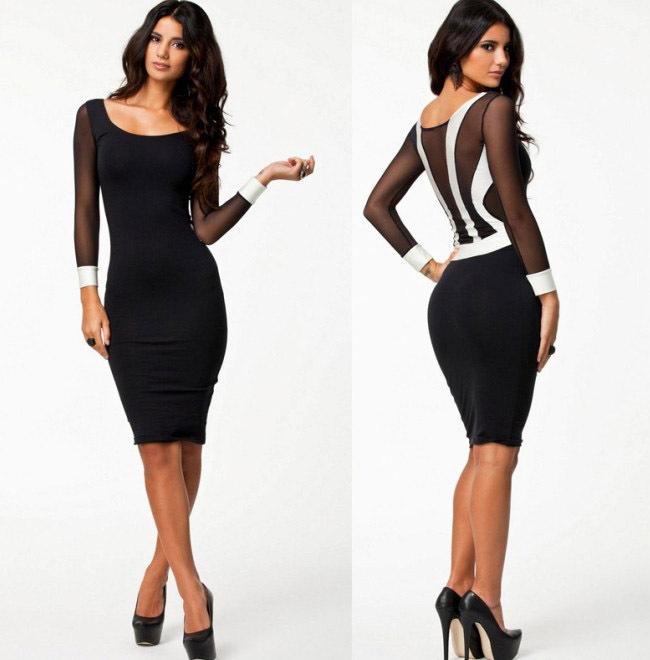 2014 Bandage Dress S-XXL Plus Size 2014 Spring New Fashion Women Sexy Long Sleeve Knee Length Black Bodycon Casual Dress 9029   Amazing Shoes UK