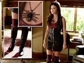 dress,pretty little liars,lucy hale,shoes,leather dress,black dress,aria montgomery,little black dress,tube dress,buckles,zip,black leather skirt,outfit,jewels,style,socks,skirt,aria,black,high waisted,hot