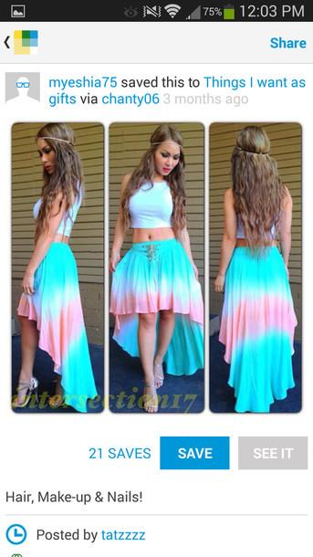 skirt cottoncandy blueandpink