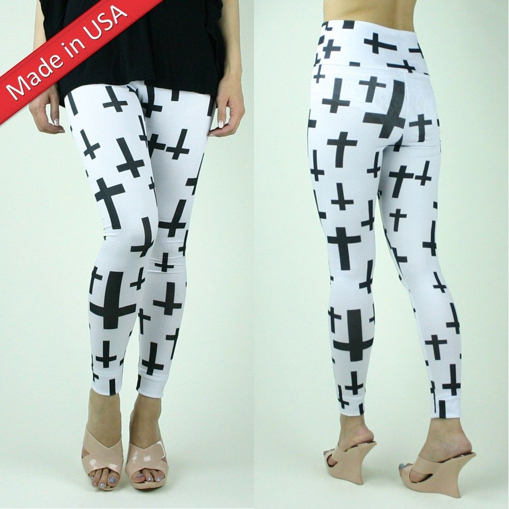 Black Cross Pattern Print Goth Emo White High Waist Rise Leggings Tights Pants