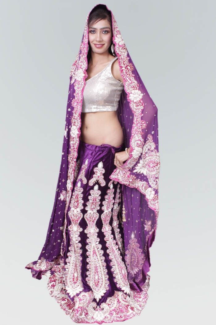 Bridal lehenga purple and hot pink bridal lengha with for Indian wedding dresses new york