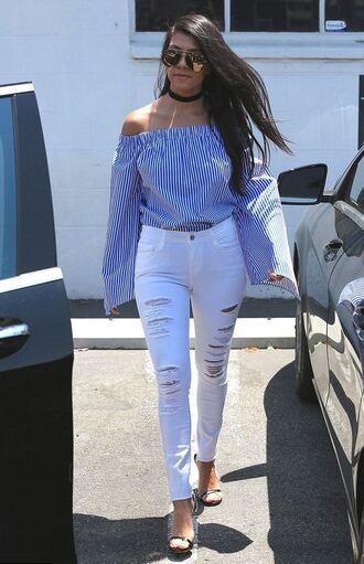 blouse off the shoulder kourtney kardashian jeans ripped jeans white jeans kardashians sandals stripes striped top choker necklace top jewels keeping up with the kardashians jewelry necklace black choker celebrity style celebstyle for less celebrity
