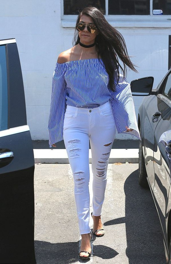 blouse off the shoulder kourtney kardashian jeans ripped jeans white jeans kardashians sandals stripes striped top choker necklace top jewels keeping up with the kardashians jewelry necklace black choker celebrity style celebstyle for less celebrity