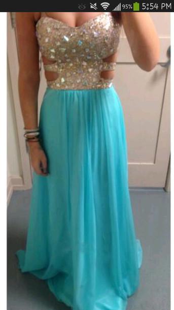 dress blue diamonds rhinestones homecoming dress long