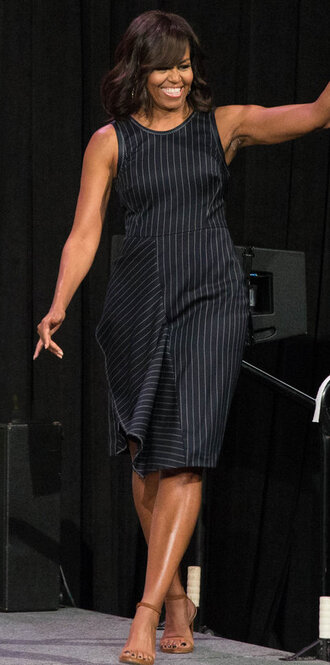 dress michelle obama midi dress striped dress stripes sandals spring dress first lady outfits