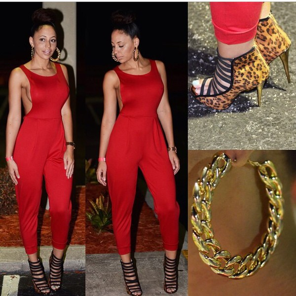 shoes leopard print red jumpsuit jumpsuit romper red gold jewelry earrings gold earrings jewels