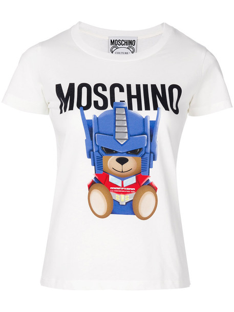 Moschino t-shirt shirt t-shirt bear women fit white cotton top