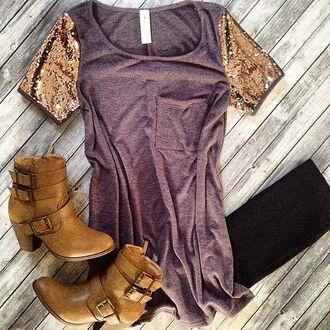 shirt top sequins front pocket shoes