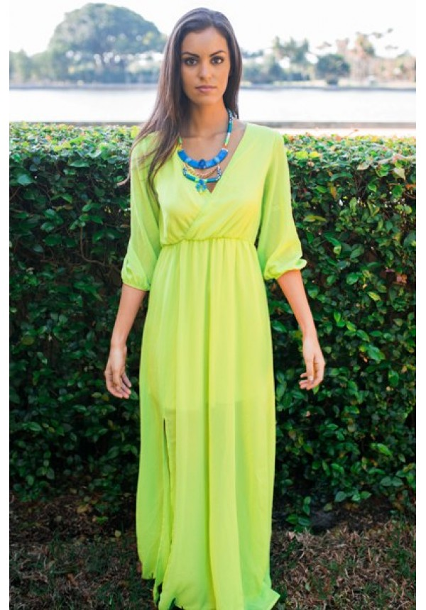 Neon Yellow Maxi Dress With 3 4 Sleeve Vneck And Leg Slit Molly