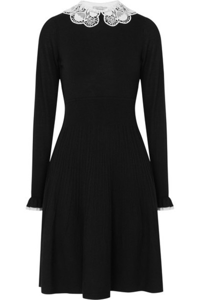 Temperley London dress lace black wool