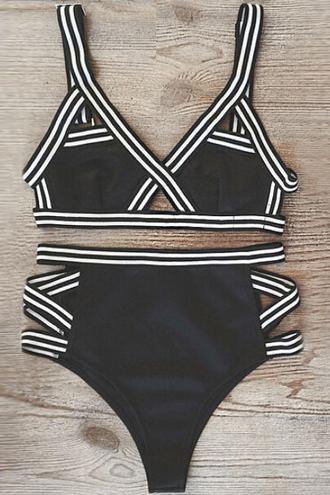 swimwear bikini black high waisted fashion beach summer trendy