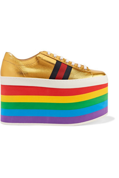 gucci metallic sneakers platform sneakers gold leather shoes