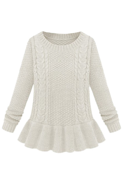ROMWE | Cable Knitted Long Sleeves White Jumper, The Latest Street Fashion