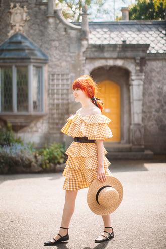 the clothes blogger hat dress belt bag