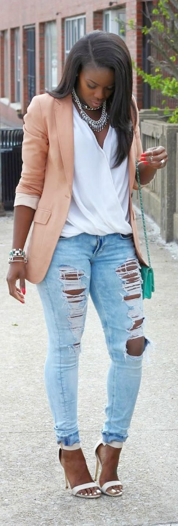 blouse jewels coat jeans t-shirt bag swag