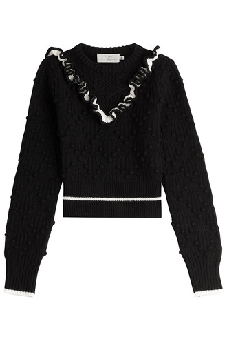 pullover cropped wool black sweater
