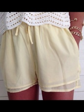 shorts,linen,yellow,summer,layered
