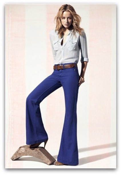 pants blue flare pants