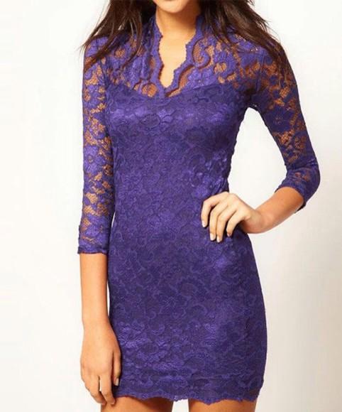 lace dress purple dress